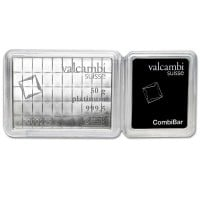 Platinum Valcambi CombiBar - 50 x 1 Gram .9999 (1.608 troy Oz)
