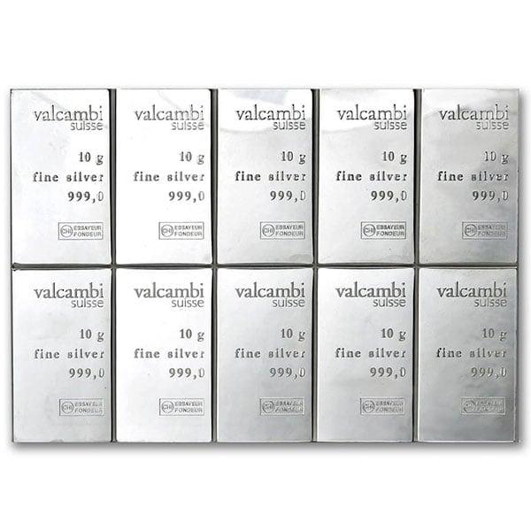 Silver Valcambi CombiBar - 10 x 10 Gram .999 Pure