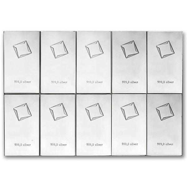 Silver Valcambi CombiBar - 10 x 10 Gram .999 Pure thumbnail