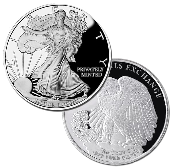 Walking Liberty 1/10 Oz Silver Rounds thumbnail