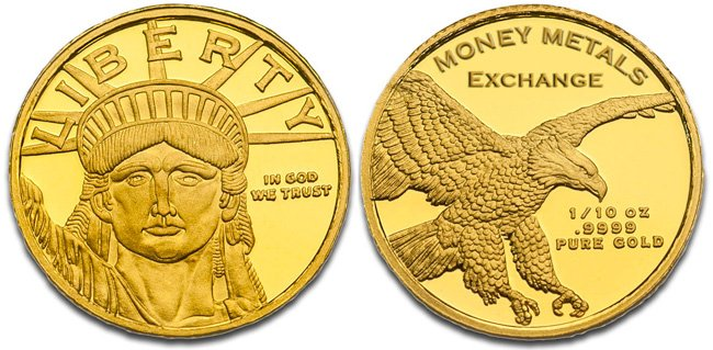 Lady Liberty Gold Round - 1/10 oz