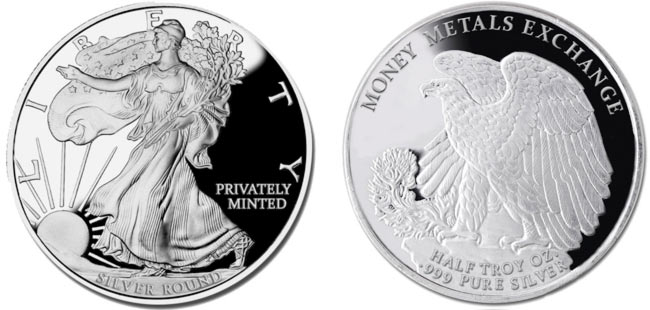 Walking Liberty Silver Round - 1/2 oz