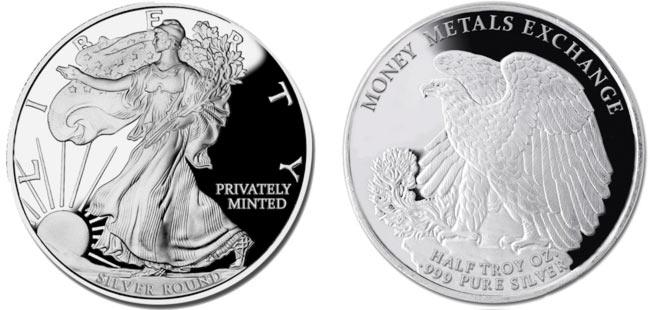 Walking Liberty Silver Round - 1/2 oz