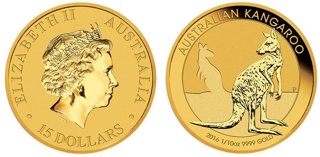 Gold Australian Kangaroo Coin - 1/10 oz