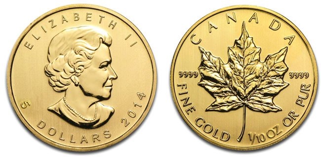 Gold Canadian Maple Leaf Coin - 1/10 oz