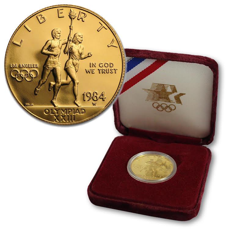 $10 U.S. Mint Gold Commemorative - 1984 LA Olympics (0.4838 oz of gold)
