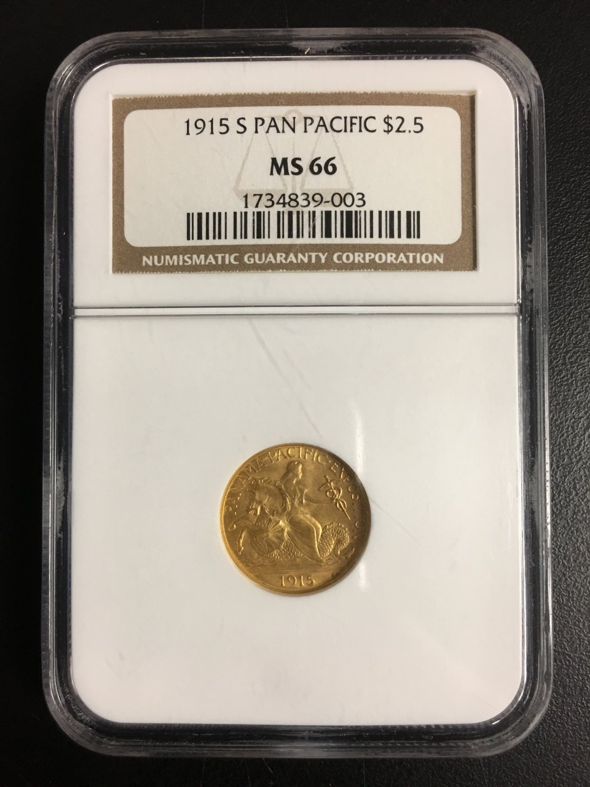 $2.50 Pan Pacific Gold Coin - 1915 S - NGC Grade MS66