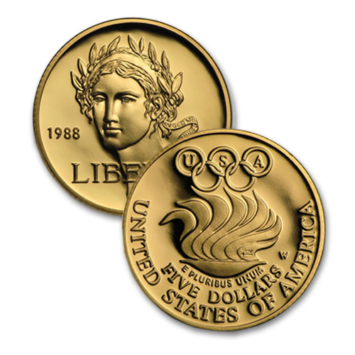 1988 Olympic $5 Gold Commemoratives from the U.S. Mint for only 5% (or less) over melt value