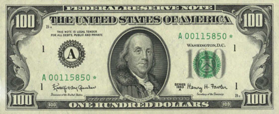 $100 Bill Federal Reserve Note 1963
