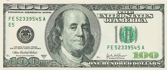 $100 Bill Federal Reserve Note 2003