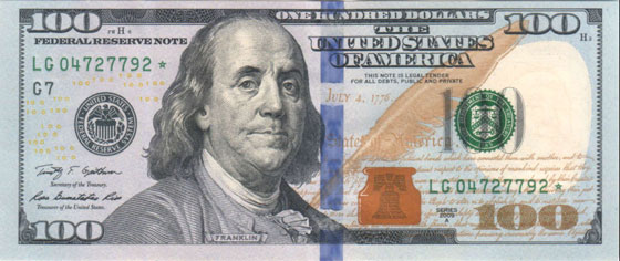 $100 Bill Federal Reserve Note 2009