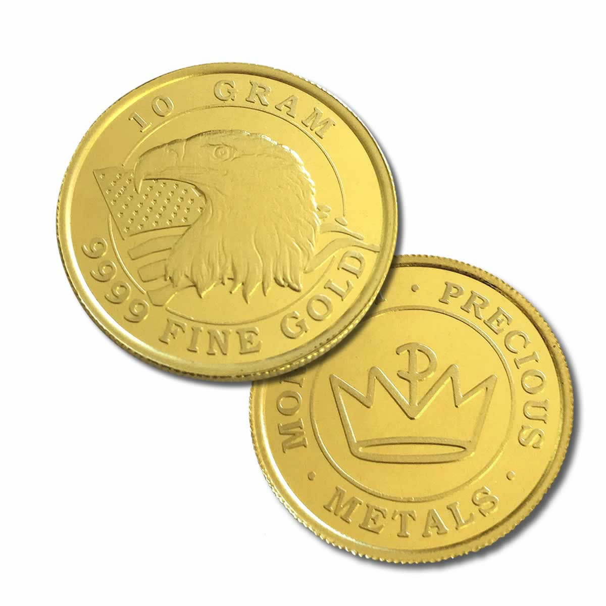 10 Gram (0.321 troy oz) Monarch Metals .9999 Fine Gold Rounds - only 2.75% over melt (REDUCED)
