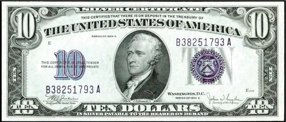 $10 in Silver Note
