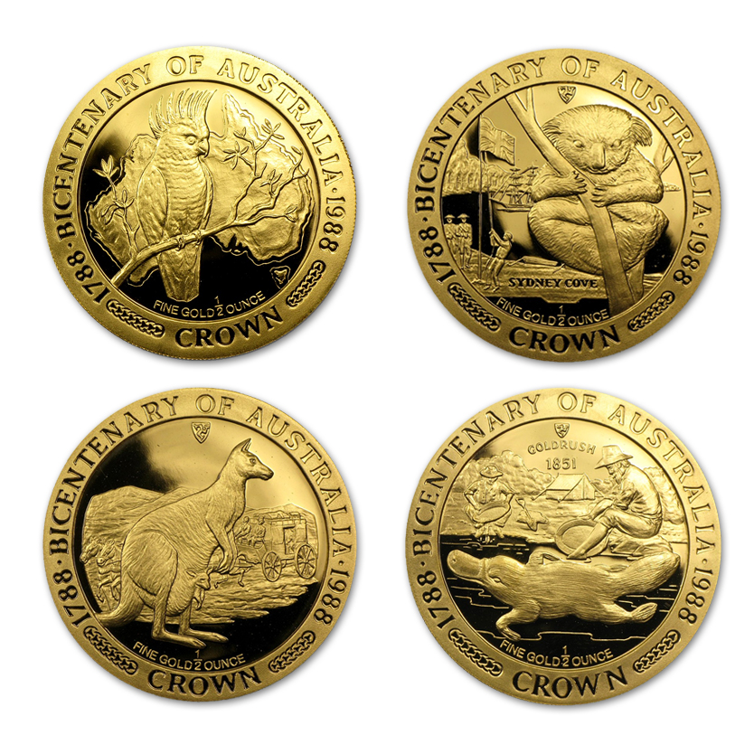 1988 Isle of Man 1/2-oz Gold Australian Bicentenary Coins