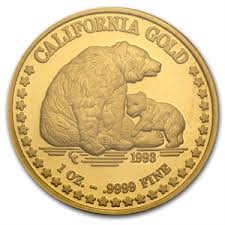 1994 Grizzly Bear Great seal of California 1 oz Gold Round