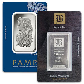 1 Oz Rhodium Bars