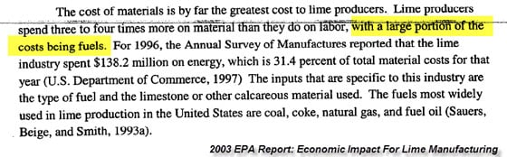 2003 EPA Report: Economic Impact For Lime Manufacturing