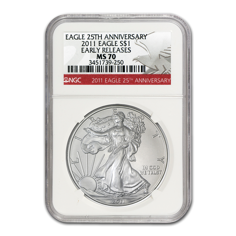 2011 Silver Eagle MS-70 NGC (25th Anniv, Red Label, Early Releases)