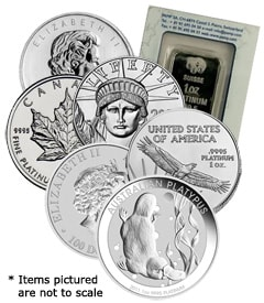 Platinum coins and bars at great prices