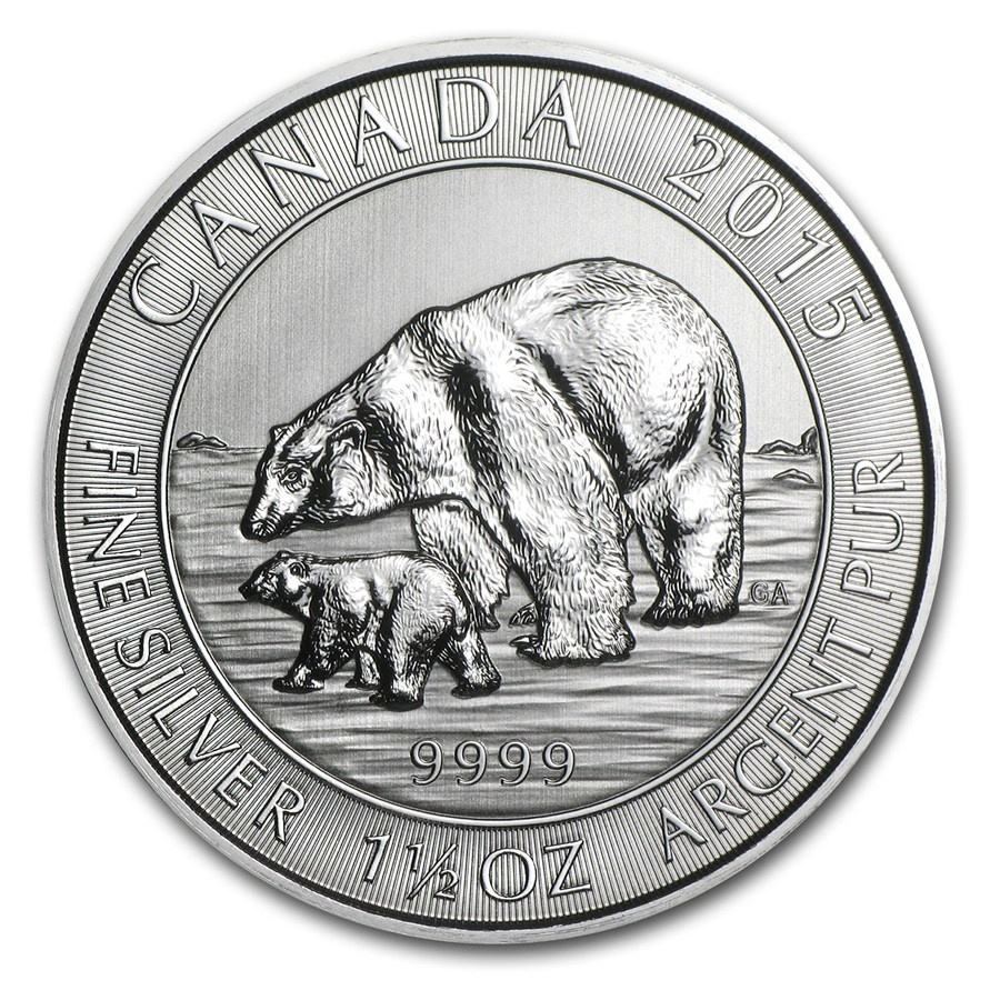 2015 Polar Bear - 1.5 Oz Silver Royal Canadian Mint - As lows as $1.69/oz over spot!!!