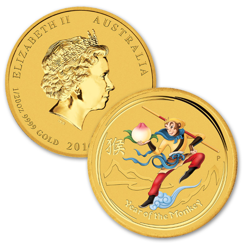 2016 1/20th oz Australian Gold Lunar Monkey King Coin