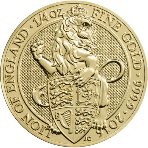 1/4-oz 2016 .9999 Royal Mint Queens Beast Gold Lion