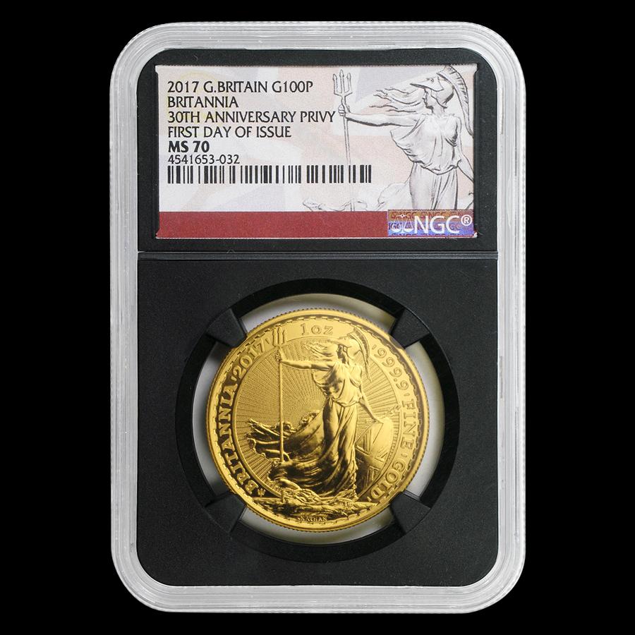 1-oz Gold Britannia 30th Anniv MS-70 NGC (First Day)