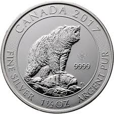 2017 1.5-oz Canadian Grizzly Bear Silver Coin