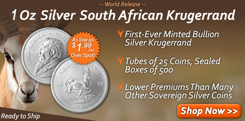 1 Oz Silver South African Krugerrand from Money Metals Exchange