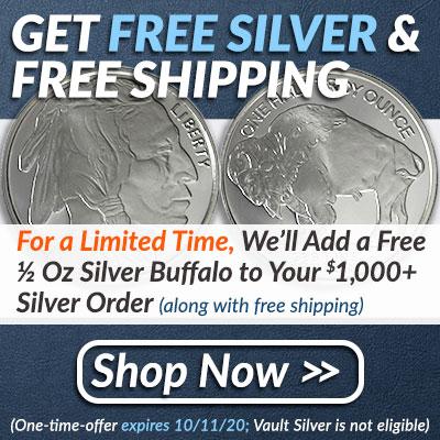 Free 1/2 Oz Silver Buffalo 9 9/17 - 10/11