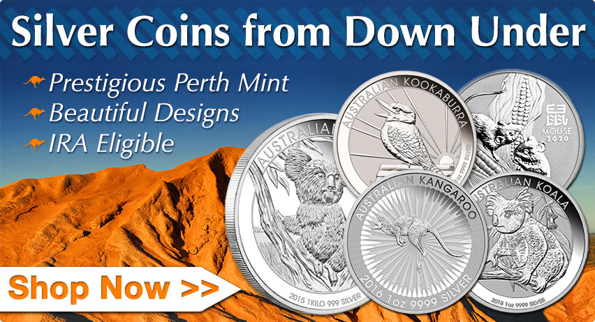 Silver Coins  from Down Under: Prestigious Perth Mint, Beautiful Designs, IRA Eligible. Shop Now >>