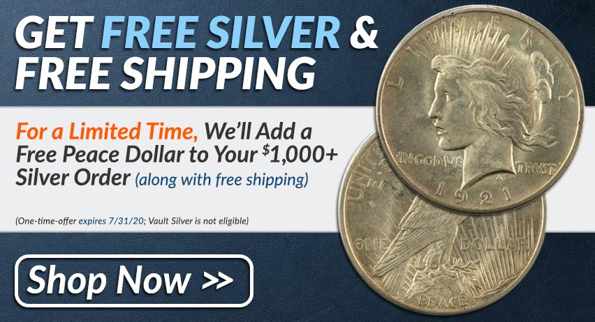 Free Silver Peace Dollar to $1,000 Silver Order