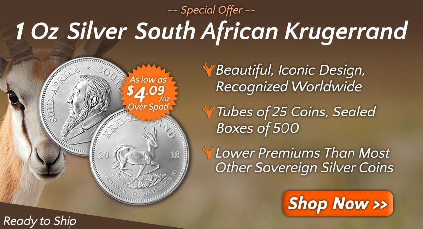 -- SPECIAL OFFER -- 1 Oz Silver South African Krugerrand: Beautiful, Iconic Design, Recognized Worldwide. Tubes of 25 Coins, Sealed Boxes of 500. Lower Premiums Than Most Other Sovereign Silver Coins. Shop now >>