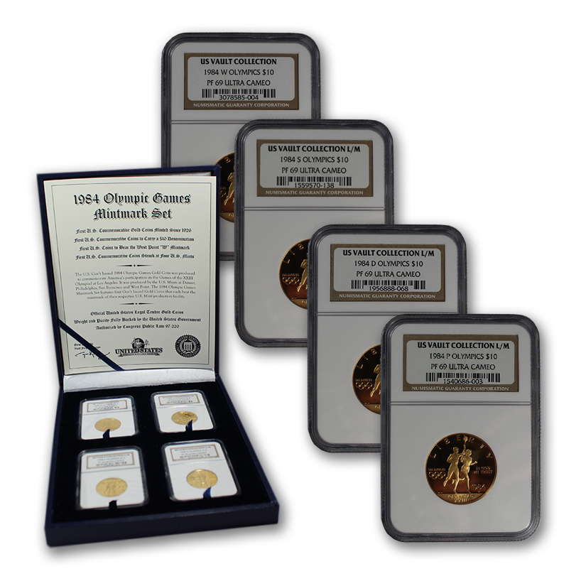 Super Rare 1984 Olympic Games PF69 Ultra Cameo 4-Coin Proof Set (One from Each of the 4 U.S. Mints)