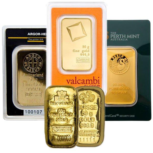 Sale on 50 gram .9999 Pure Gold Bars