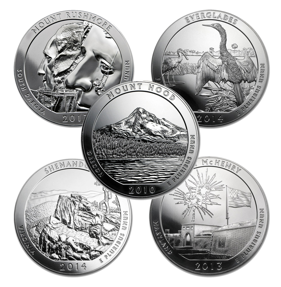 Assorted America The Beautiful 5-oz Silver Coins