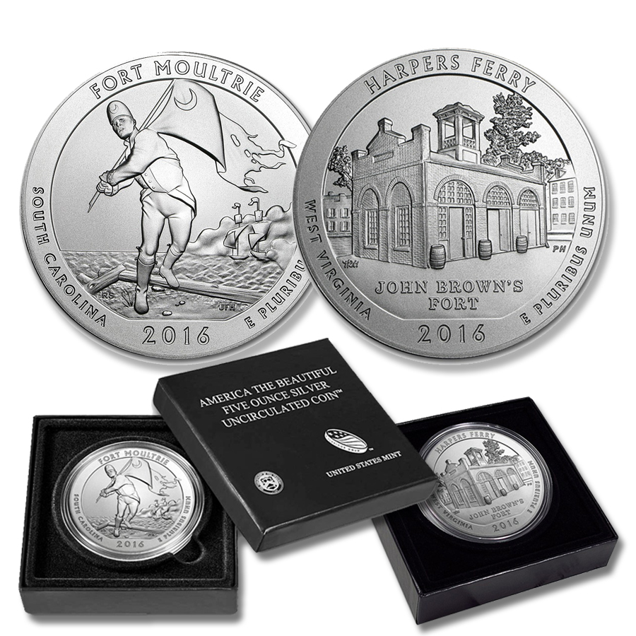 America The Beautiful 5-oz Silver Coins (w/Box & COA)