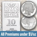 Premiums under $1 on ALL orders of 1-oz Buffalo rounds and 10-oz silver bars