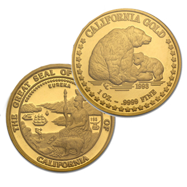 California Gold 1-oz .999 Pure Round!