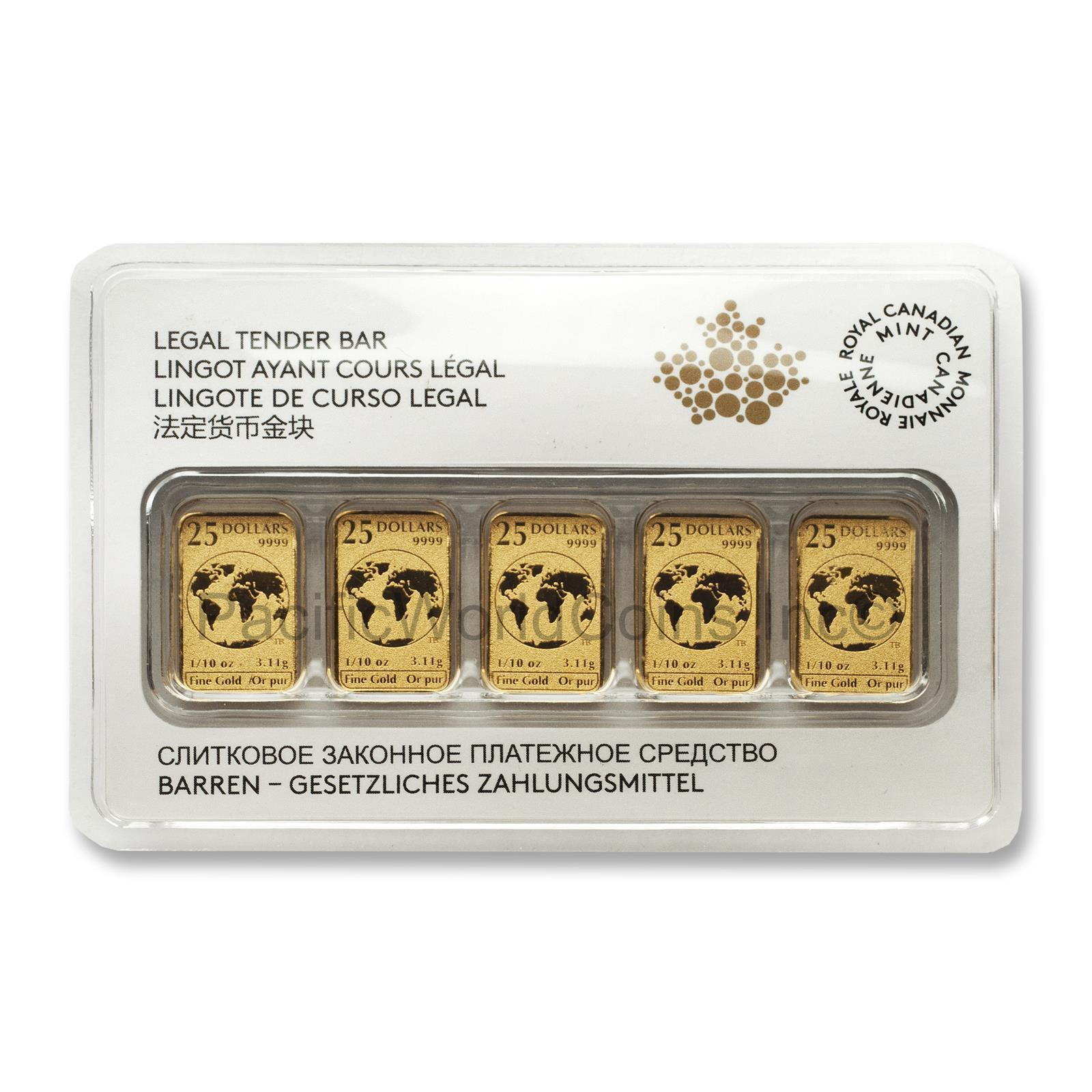 Canadian 2016 Legal Tender 1/10-oz Gold Bars (Pkg Contains 5 Bars)