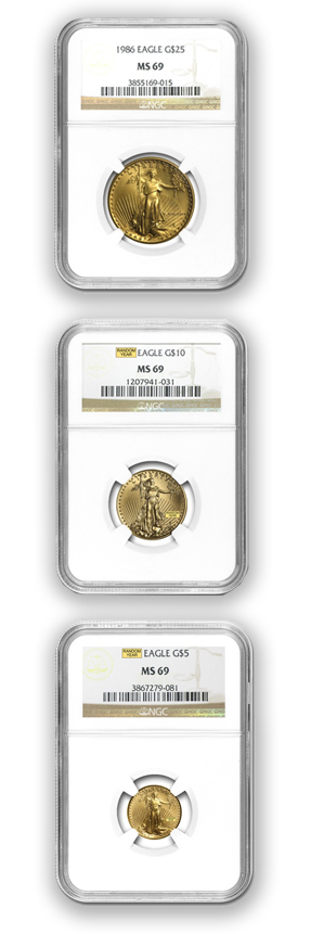 Graded Gold American Eagle Coins - various sizes