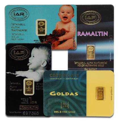 1-gram Gold Bars (only $4 over melt value)