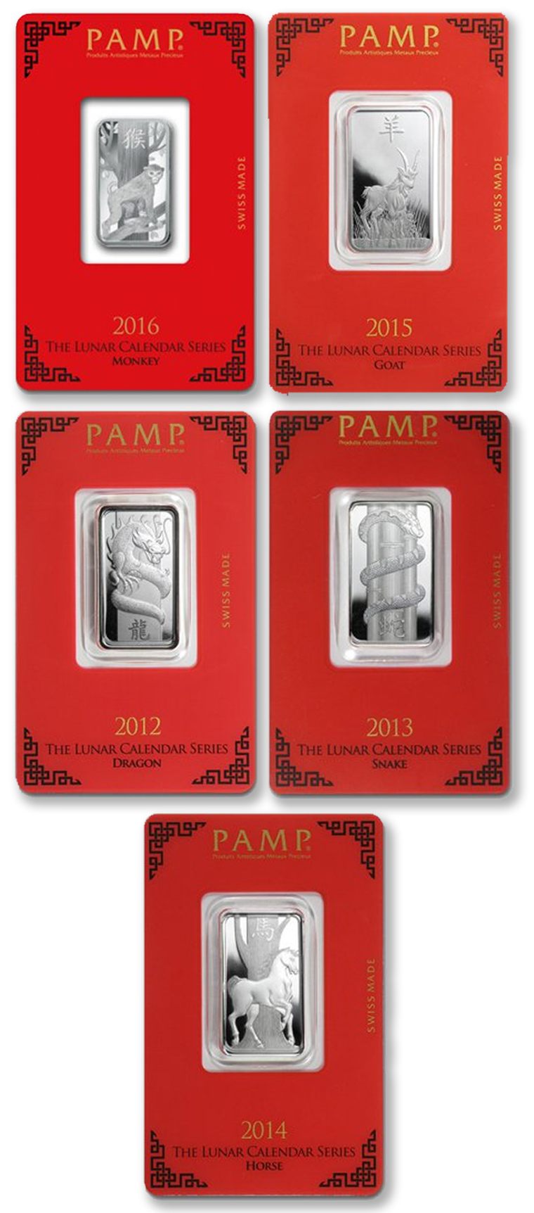 Only $9 each for Lunar Series 10 gram Silver Bar - PAMP Suisse