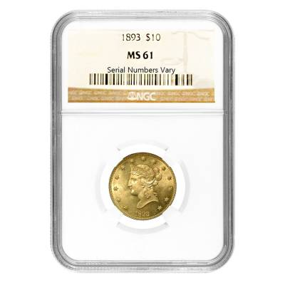 MS61 1893 $10 Liberty Gold Coin