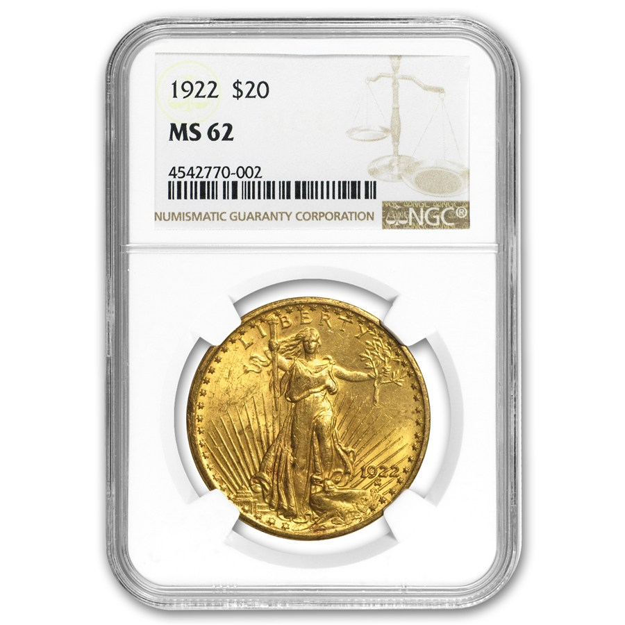 MS62 $20 St Gaudens Gold Coins