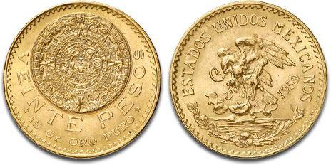 Mexico Gold 20 Peso (.4823 oz gold content)