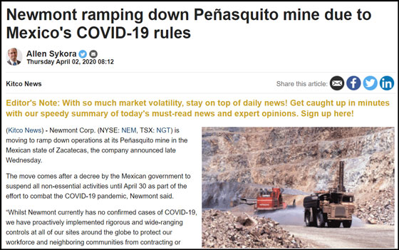 Newmont Ramping down Peñasquito Mine due to Mexico's Covid-19 Rules