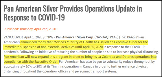 Pan American Silver Provides Operations Update in Response to Covid-19