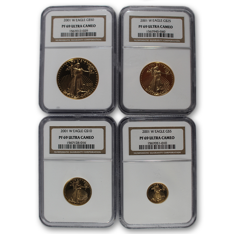 2001-W Certified Proof American Gold Eagle 4-Coin Set PF69 Ultra Cameo NGC