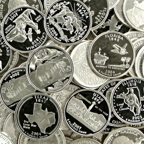 90% Proof Silver Quarters  (from recent year U.S. Mint proof coin production runs, only $1.99 over spot per oz)